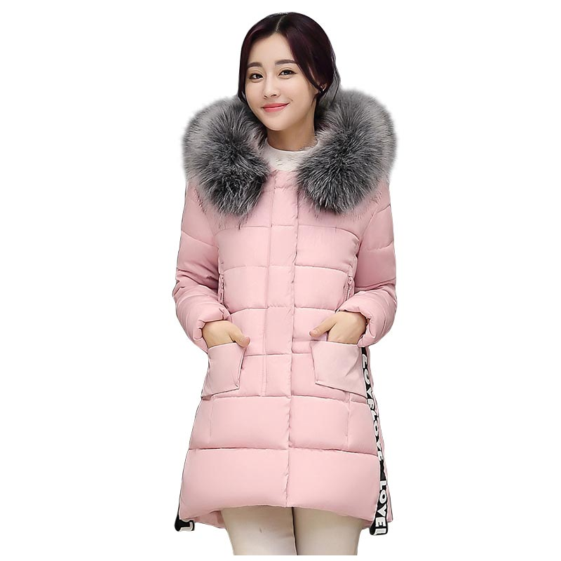 Woman Winter Fur Hooded Quilted Coat Lady Plus Size Wadded Parka Medium Long Slim Women Cotton-padded Jacket PW0967 new winter women jacket medium long thicken plus size outwear hooded wadded coat slim parka cotton padded jacket overcoat cm1039