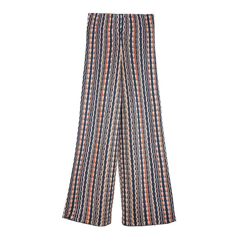Kadın Giyim'ten Pantalonlar ve Kapriler'de Micosoni İtalyan tarzı Örme Yeşil Siyah Bej Turuncu Dalga Çizgili örme pantolon Orta bel Geniş Bacak Pantolon Sonbahar Kış 2018'da  Grup 2