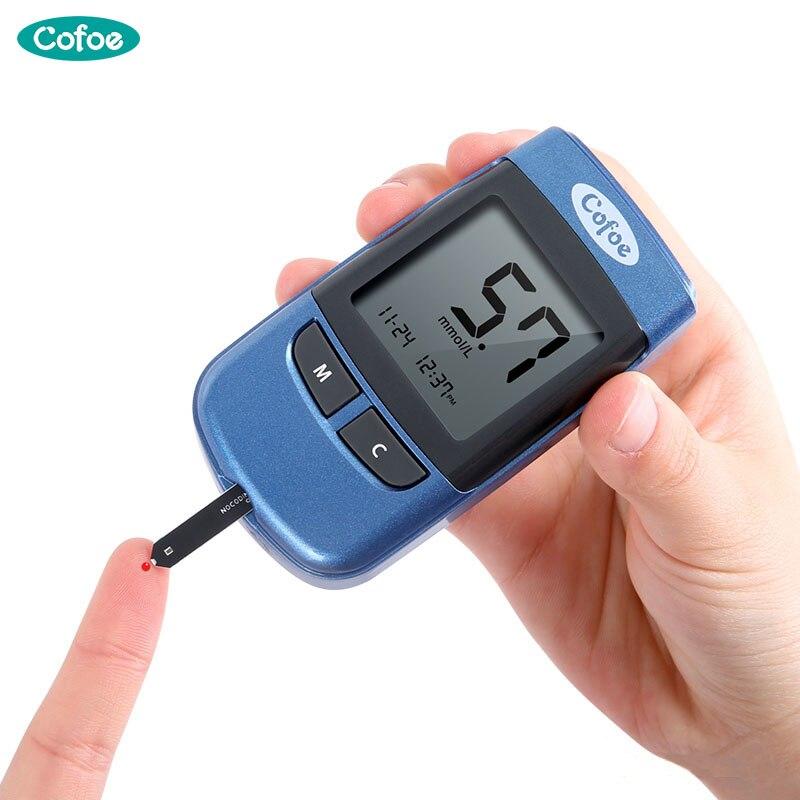 Cofoe Yiyue Misuratore di Glucosio Diabete Medico Tester Glucometro Spedizione codice di Zucchero Nel Sangue Monitor 50/100 pz Strisce Reattive glucosio nel e le lancette
