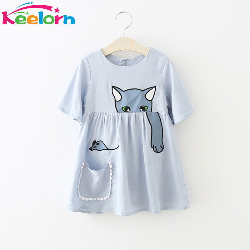 Keelorn Girls Dress 2017 Summer Casual Style Girls Clothes Lovely cat pattern dress Pocket decoration Children