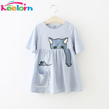 Keelorn Girls Dress 2017 Summer Casual Style Girls Clothes Lovely cat pattern dress Pocket decoration Children Clothing 2-6Y