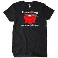 Tee4U Marca Impresa 100% Algodón Camiseta Beer Pong Consigue Sus Bolas Wet O-cuello Manga Corta Mejor Amigo Camisetas Para Hombre