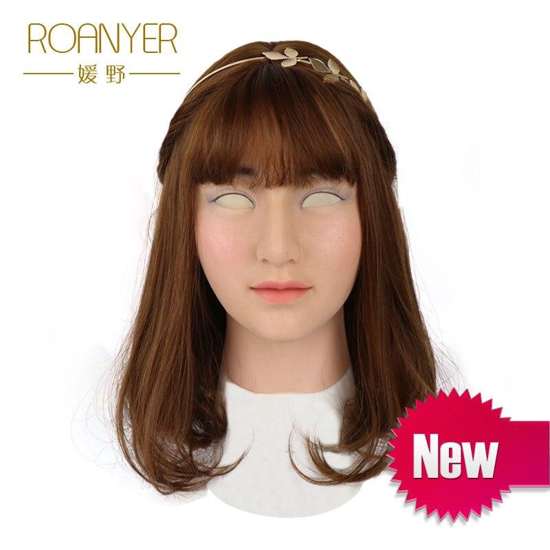 Roanyer Soleggiato crossdresser transgender silicone maschera femminile realistico lattice cosplay sexy per il maschio reale rifornimenti del partito di halloween