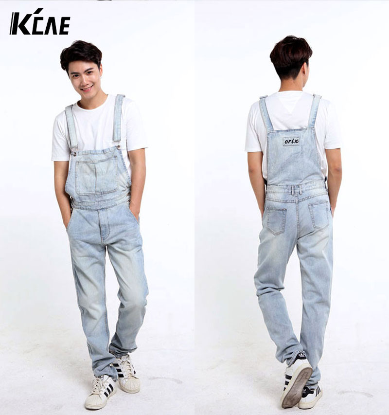 ФОТО 2016 New Brand Fashion Men's light blue white denim bib overalls Male casual straight slim jumpsuits Jeans S-5XL Free shipping