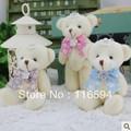 Y54 envío libre venta al por mayor 24 unids/lote 12 cm 5 '' cinta lazo de diamantes de peluche de juguete de peluche pequeño conjunto 3colores materiales ramo