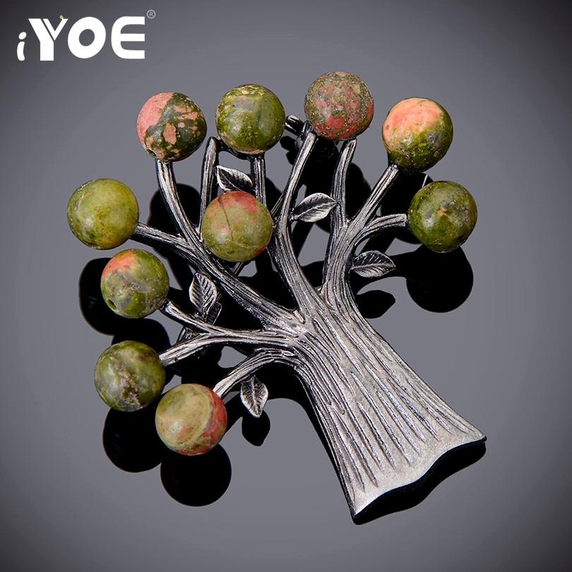 Женская Брошь в виде дерева IYOE, Винтажная брошь серебряного цвета с бусинами из натурального камня, булавка на воротник, ювелирные изделия, ...