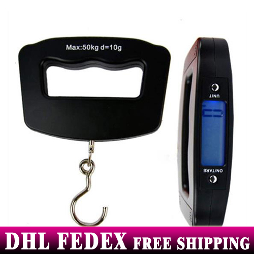 Free DHL 100pcs 50kg x 10g Digital LCD Portable Scale Hanging Travel Digital Luggage Scale