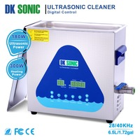 DK SONIC Ultrasonic Cleaner 6.5L 180W for Coins Jewelry Glasses Tooth False Blades Screwdrivers Metal Parts Injectors 28/40KHz