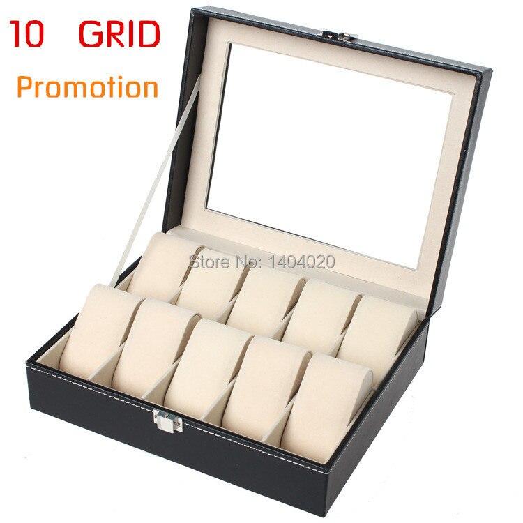 Elegant Top grade Watch box Kulit Tingkap kaca telus PU Watch Display Show Case Barang Kemas Collection Organizer Box 10Grid