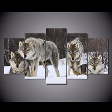 5 Pcs/Set Modern European Oil Painting Wolf On Canvas Wall Art Picture Pictures for Living Room