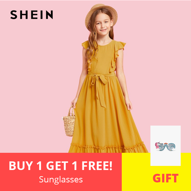 SHEIN Kiddie Ginger Zip Back Ruffle Hem Teenage Girl Party Maxi Dress 2019 Summer Sleeveless A Line Kids Girls Dresses high slit lace maxi dress