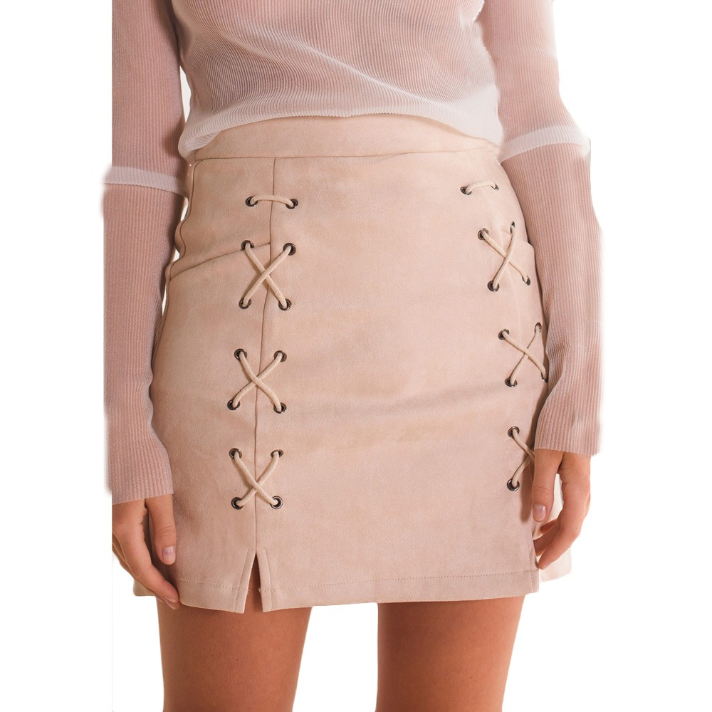 Pencil skirt women bandage suede fabric mini skirt slim ladies skirts womens clothing ropa mujer invierno