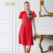 VOA Heavy Silk Watermelon Red 3D Bow Printed High Waist Tunic Women Midi Dress Sweet V Neck Party Runway Dresses Summer A828