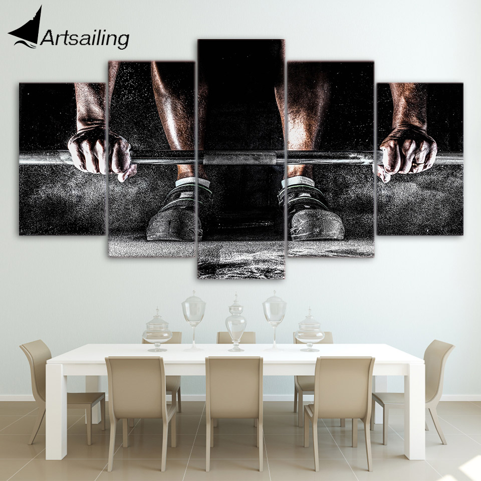 Canvas Paintings Printed 5 Pieces Weightlifting Sports Wall Art Canvas Pictures For Living Room Bedroom Home Decor CU-1336A