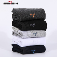 Seven7 Brand Fashion Men Socks 5 Pairs Set High Quality Cotton Sock Solid Colors Classic Basic