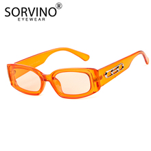 SORVINO Trendy Small Orange Rectangular Sunglasses Women 2018 90s Retro Lady Tin
