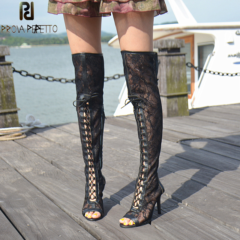 Prova Perfetto Elegant Women Cross Tied Sandal Sexy Ladies Lace Mix Real Leather Peep Toe Thin High Heel Thing High Boots Sandal
