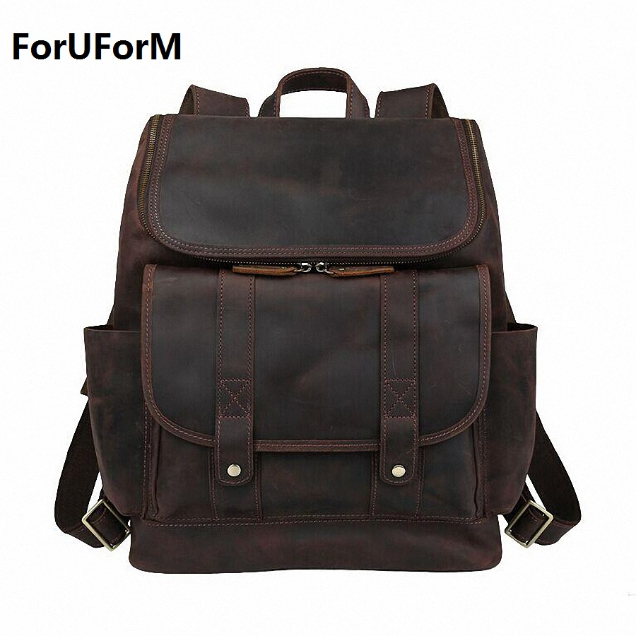 New 2017 Vintage Genuine Leather Men's Backpack Crazy Horse Cowhide Men Shoulder Bag Backpacks School Travel Bag LI-1317 new arrival 2016 classic vintage men backpack crazy horse genuine leather men bag travel cowhide backpacks school bags li 1320