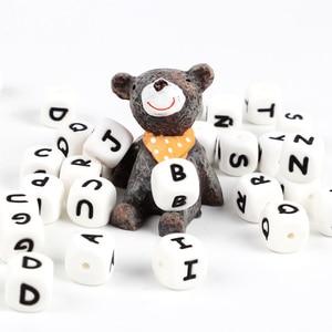 Image 5 - * 500 шт. силиконовые бусины с буквами, без БФА, Детские Прорезыватели с английским алфавитом, бусины для прорезывания зубов, для изготовления соски на цепочке, с индивидуальным именем