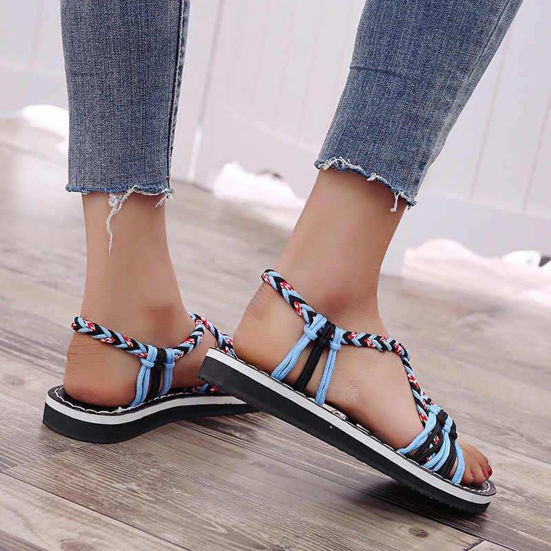 ผู้หญิงรองเท้าแตะ 2019 รองเท้าแตะ Gladiator ฤดูร้อนสุภาพสตรีแบนโรมรองเท้าชายหาดหญิง Patchwork เชือกรองเท้าแตะ Zapatos De Mujer