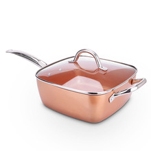 Non-stick Copper Frying Pan with Ceramic Coating and Induction cooker Oven Dishwasher with Glass Cover