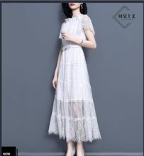 Primavera del 2019 le donne del nuovo merletto della cinghia di vita molto fata maglia vestito da a-line