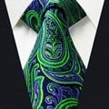 Tamanho Extra longo Paisley Gravata Laços Dos Homens Preto Roxo Verde 100% de Seda Tecido Jacquard Marca de Moda de Nova LENÇO Laços para homens