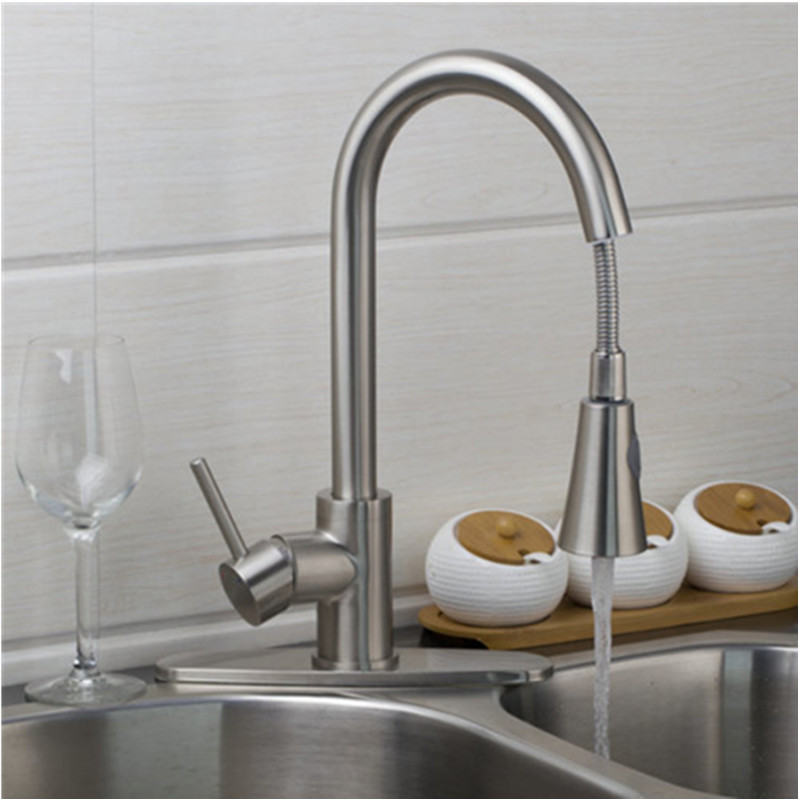 Kitchen Faucet Torneira Cozinha Pull Out Down Brushed Nickel Swivel 360 Deck Mounted Sink Faucets pull out kitchen faucets brushed nickel sink mixer tap 360 degree rotatable torneira cozinha mixer taps