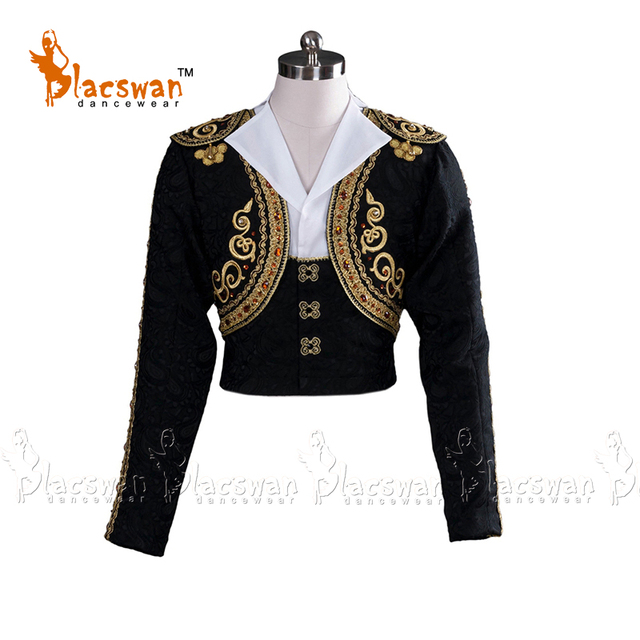 Custom Made Men Ballet Jackets Adult Black Ballet Tunic Costumes Top 2-pieces Set Spanish Male's Ballet Dance Costumes BT798