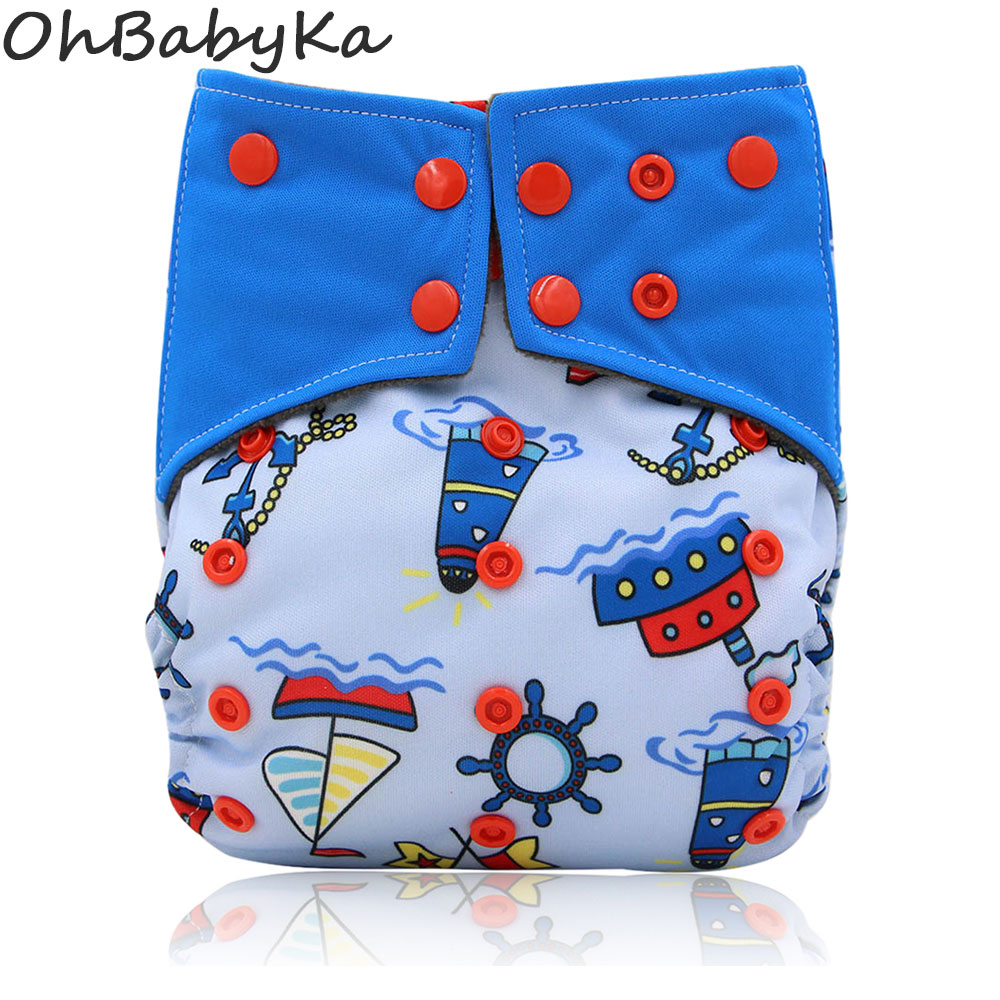 Ohbabyka Resuable Cloth Diaper All-in-two AI2 Adjustable Diaper Cover Baby Nappies Fralda de Pano Double Gussets Baby Diapers