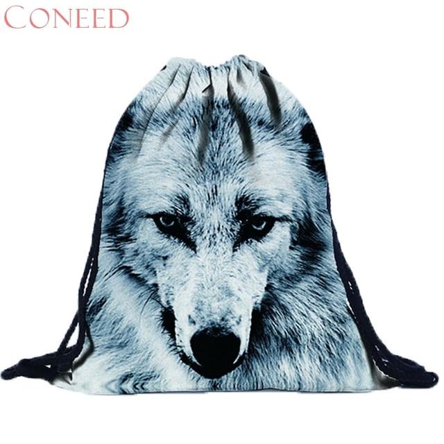 תיקי בית ספר CONEED אופנה מקסימה נחמד מתנה הטובה ביותר לשני המינים 3D הדפסת שרוך שקית קניות bag drop ship Trvel Oct16