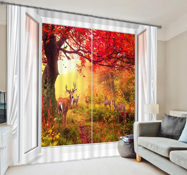 Beautiful Scenery Fawn Luxury 3d Photo Print Blackout Window Curtains For Living Room Bedding Room Office Drapes Cortinas Para In Curtains From