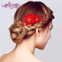 Thời trang rhinestone alloy red flower tóc comb bridal tiara flower tóc ngắn phụ kiện bán buôn