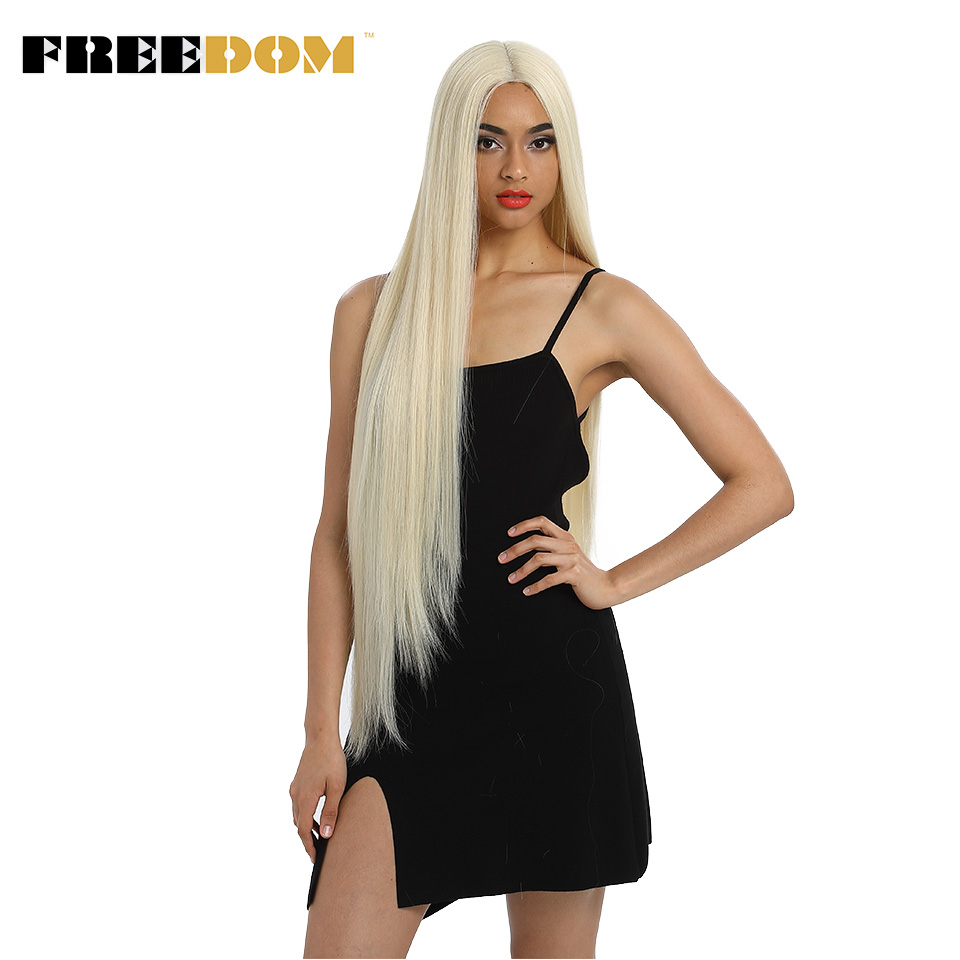 FREEDOM Synthetic Lace Front Wig For Black Women Supper Long 38Inch Ombre Blond 3 Color Natural Straight Hair Wigs Cosplay Wigs 3