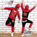 Комиксов Человек-Паук Костюм Красный Черный человек-Паук Аниме Косплей Детская Одежда Установить Хеллоуин Костюм для Мальчиков Дети куртка брюки