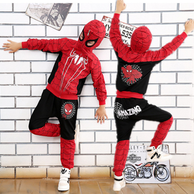 Comic Spiderman Costume Red Black Spider man Anime Cosplay Children Clothes Set Halloween Costume for Boys Kids jacket pants