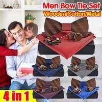 3D деревянный галстук-бабочка галстук платок Набор запонки модный деревянный галстук-бабочка свадебный ужин ручной работы Corbata деревянные г...