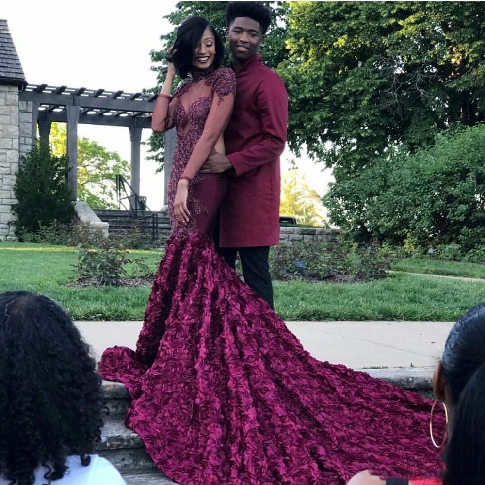 Gorgeous Rose Patterned Mermaid   Prom     Dress   High Neck Beads Applique Sheer Long Sleeves Evening   Dress   Burgundy African Party Wear