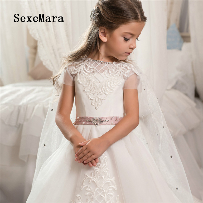 2775661cd5 New Flower Girl Dresses For Weddings Ball Gown Tulle Lace Beaded Long First  Communion Dresses For Little Girls with Cape - aliexpress.com - imall.com