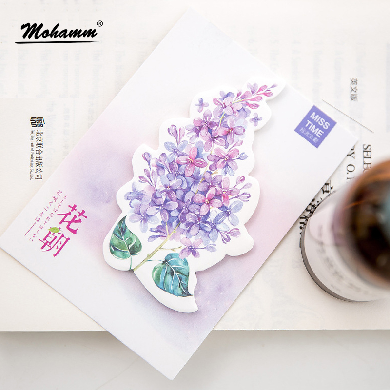 30 Sheets/lot Cute Kawaii Flowers Notebook Memo Pad Self-Adhesive Sticky Notes Office School Supplies Memo Pad