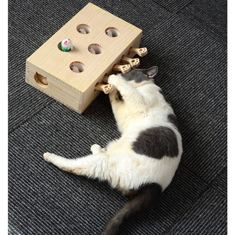 Offre spéciale Pet Hamster chat jouet avec cinq trous souris trou chat attraper morsure interactif jouet Puzzle Pet fournitures chiot jouets - 4