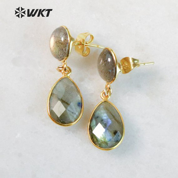 WT-E457 WKT Wholesale natural labradorite stone earring classic water drop shape faceted pendant dangle earring for girl jewelry