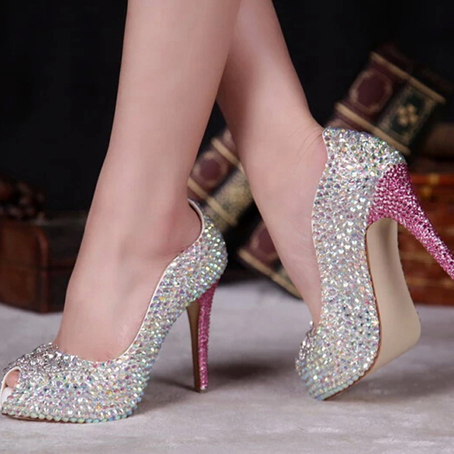 Spring Summer Ab Crystal Bridal Shoes P Toe Sparkly Wedding 12cm High Heel Platforms Rhinestone