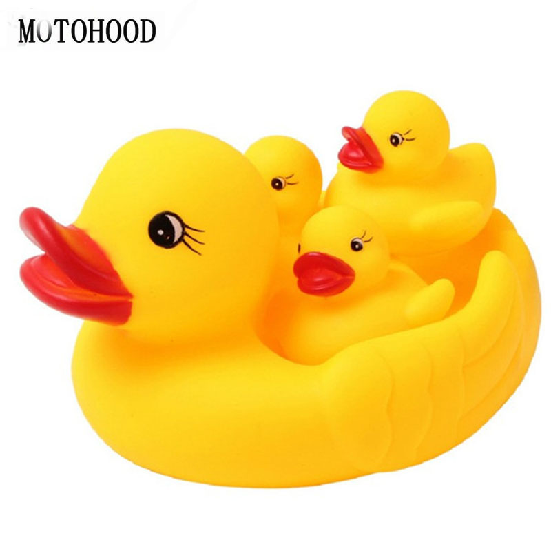 MOTOHOOD Cute Baby Rattle Bath Toy 4pcs Ducks Squeezing Call Rubber Shower Bathing Water Play Toy For Children ...