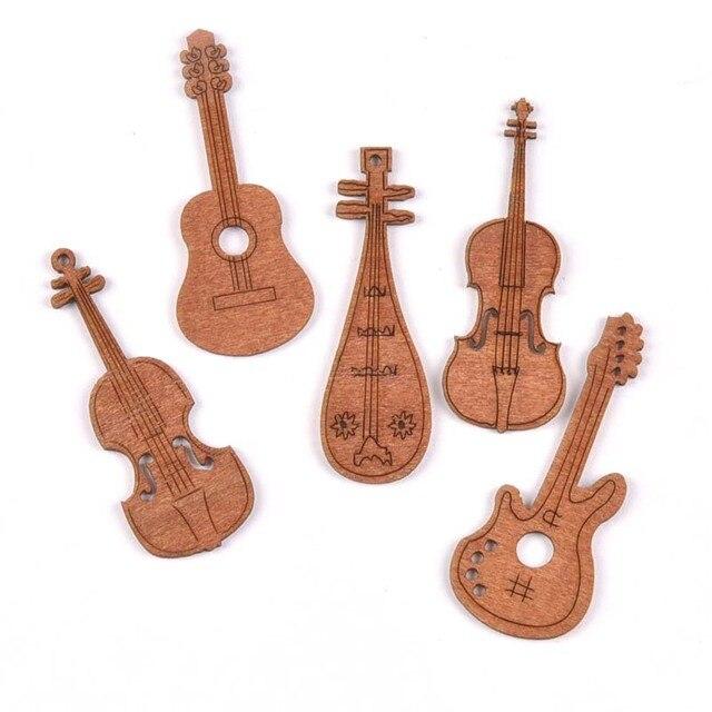 20 шт гитара/Скрипки Изделия из дерева Ломтики Для DIY Scrapbookings аксессуары деревянный орнамент сделанное вручную украшение для дома 20x60 мм M1931