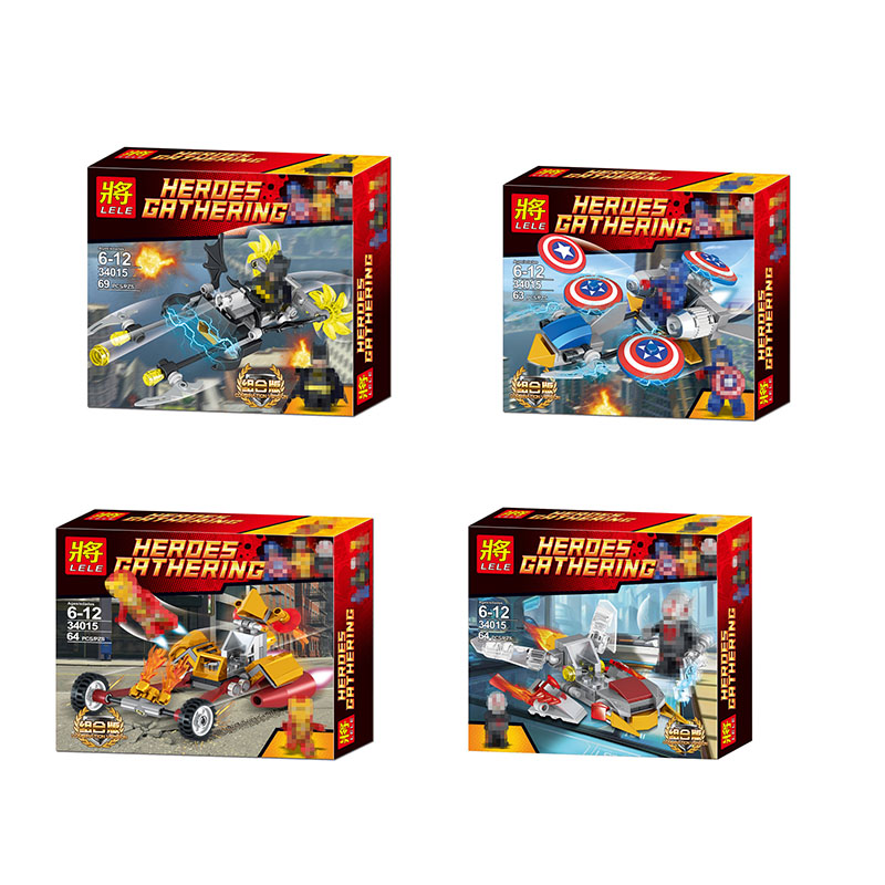 LELE Technic Super Heroes Model Building Blocks Compatible Brick Educational Toy for Children 4 Pieces/ lot