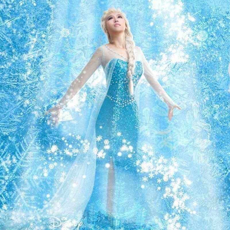 หิมะน้ำแข็ง Queen Elsa แช่แข็งเจ้าหญิงเท่านั้นคอสเพลย์ผู้ใหญ่ฮาโลวีน Carnival PARTY แฟนซีสาวงานแต่งงาน