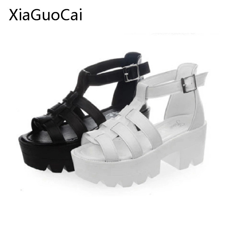 Summer Retro Platform Women Sandals Buckle Strap Cutouts Female Sandals Gladiator Thick Heels Shoes X957 35 phyanic 2017 gladiator sandals gold silver shoes woman summer platform wedges glitters creepers casual women shoes phy3323