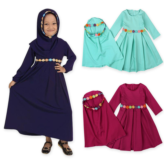 99a15ac61f46 Two sets Traditional Flower Kids clothing Fashion Child Abaya Muslim Girl  dress jilbab and abaya islamic Children hijab dresses