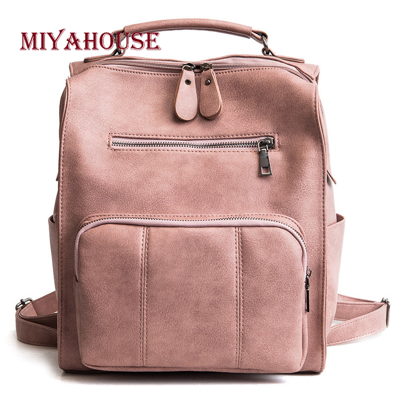 Miyahouse Casual Leather Backpack Female Solid Color PU Leather Backpack For Teenage Girls High Quality Women Travel Rucksack preppy style women backpack letter print mini pu leather backpack schoolbags for teenage girls female backpack rucksack mochilas